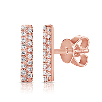 14K Rose Gold Diamond Double Row Stick Earrings