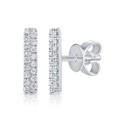14K White Gold Diamond Double Row Stick Earrings