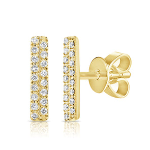 14K Yellow Gold Diamond Double Row Stick Earrings