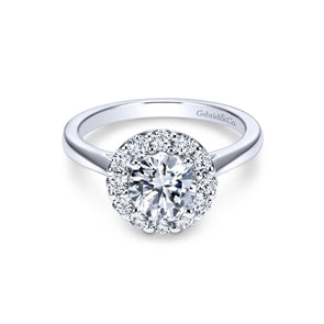 14K White Gold Diamond Round Halo Mounting
