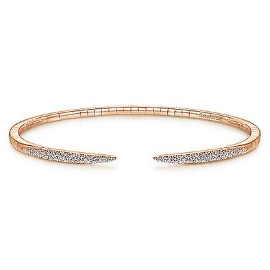 14K Rose Gold Split Diamond Spike Bangle