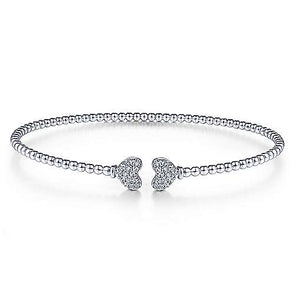 14K White Gold Split Cuff Bracelet Pave Diamond Hearts