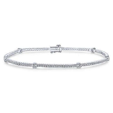 14K White Gold Diamond Tennis Bracelet with Bezel Set Diamonds