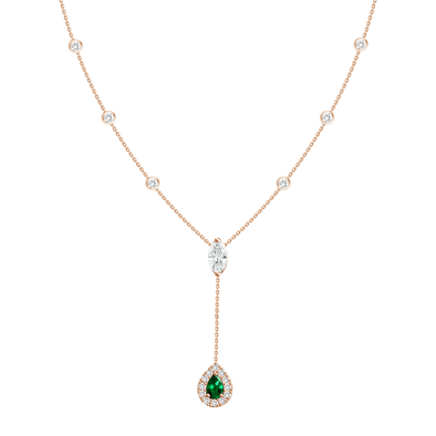 18K Rose Gold Diamond + Emerald Y Necklace