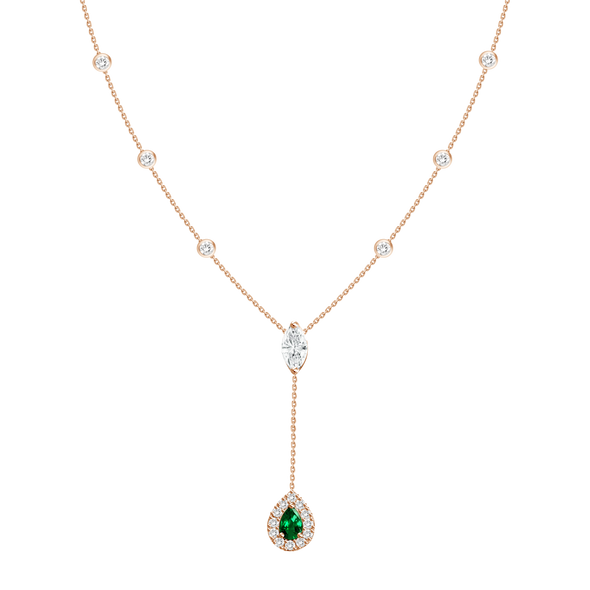 18K Yellow Gold Diamond + Emerald Y Necklace