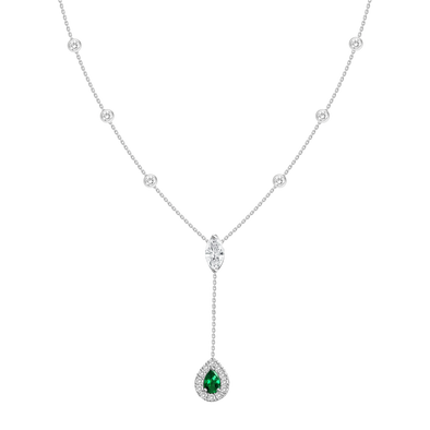 18K White Gold Diamond + Emerald Y Necklace