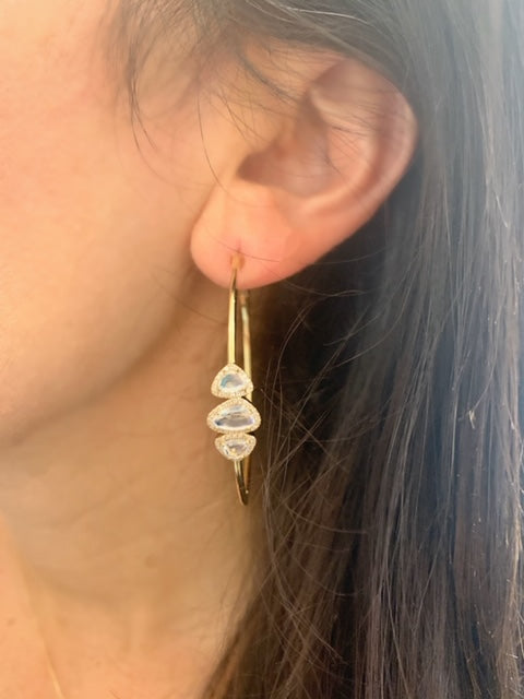 14K Yellow Gold Diamond Moonstone Hoop Earrings