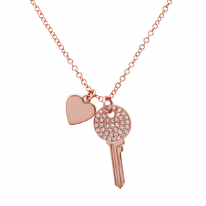 14K Rose Gold Mini Diamond Key and Heart Pendant