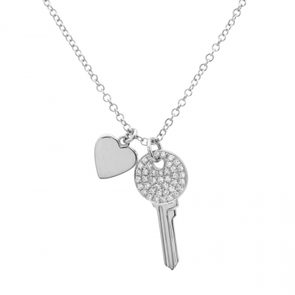 14K White Gold Mini Diamond Key and Heart Pendant
