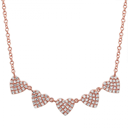 14K Rose Gold Diamond (5) Heart Necklace