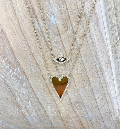 14K Yellow Gold Diamond Border and Polished Heart Necklace