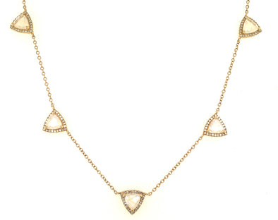 14K Yellow Gold Diamond + Triangle Rainbow Moonstone Necklace