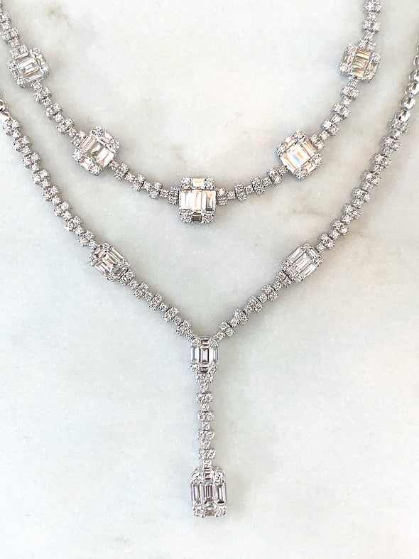 18K White Gold Round and Baguette Diamond Y Necklace