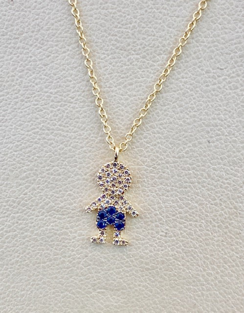 14K Rose Gold Diamond and Blue Sapphire Boy Necklace