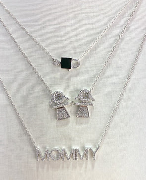 14K White Gold Diamond Girl +Girl Necklace