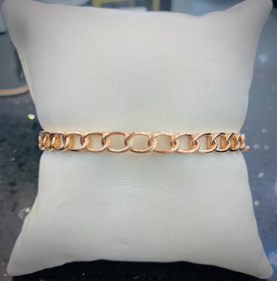 14K Rose Gold Link Hinged Bangle