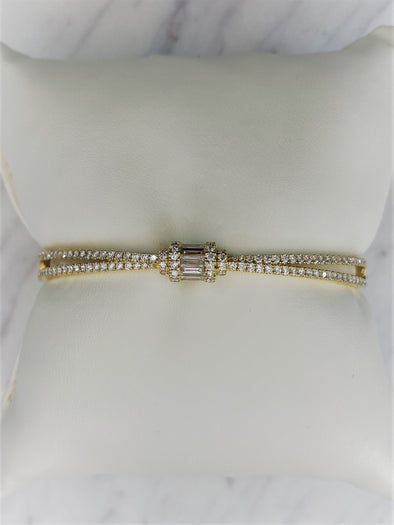 18K Yellow Gold Round + Baguette Cross Hinged Bangle