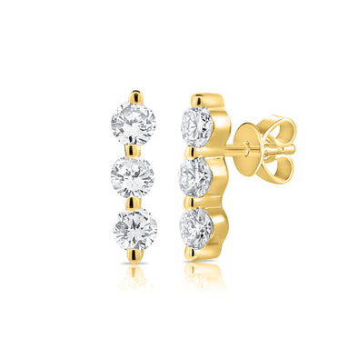 14K Yellow Gold Triple Diamond Bar Earrings