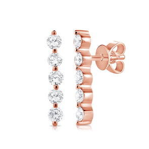14K Rose Gold (5) Diamond Bar Earrings