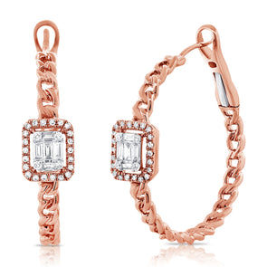 14K Rose Gold Baguette Diamond Curb Link Hoop Earrings