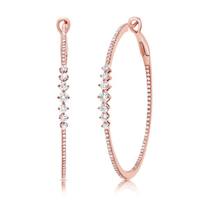 14K Rose Gold Diamond Graduating Inside Out Hoop Earrings