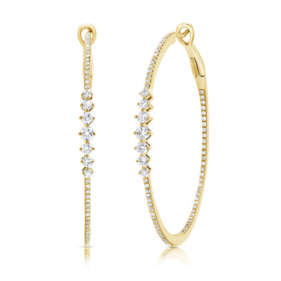 14K Yellow Gold Diamond Graduating Inside Out Hoop Earrings