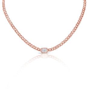 14K Rose Gold Diamond Center & Curb Link Collar/Choker Necklace