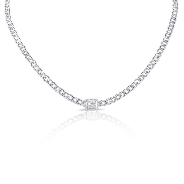 14K White Gold Diamond Center & Curb Link Collar/Choker Necklace