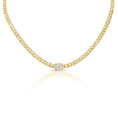 14K Yellow Gold Diamond Center & Curb Link Collar/Choker Necklace