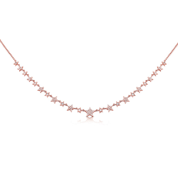 14K Rose Gold Mini Diamond Star Necklace