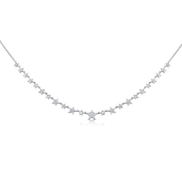 14K White Gold Mini Diamond Star Necklace