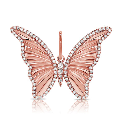 14K Rose Gold Diamond High Polished Butterfly Pendant