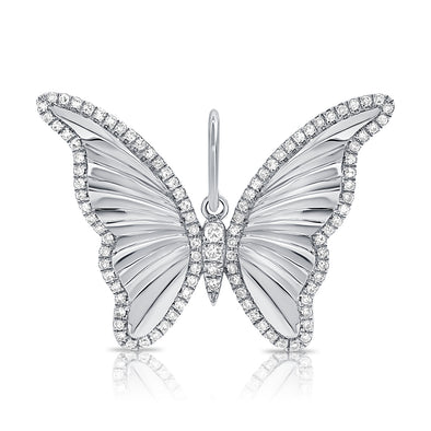 14K White Gold Diamond High Polished Butterfly Pendant
