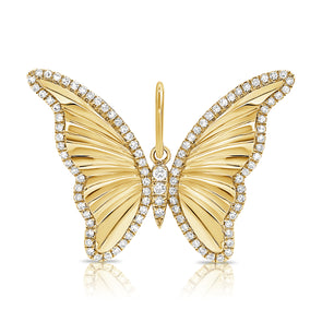 14K Yellow Gold Diamond High Polished Butterfly Pendant