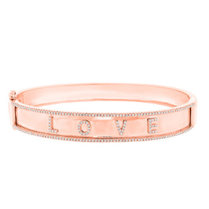 "14K Rose Gold Diamond ""Love"" Hinged"