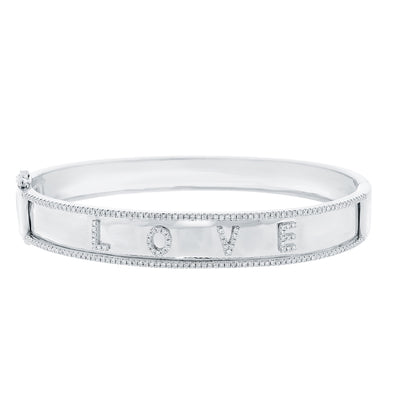 "14K White Gold Diamond ""Love"" Hinged"