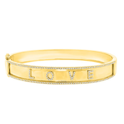 "14K Yellow Gold Diamond ""Love"" Hinged"