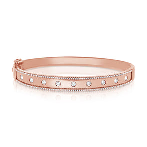 14K Rose Gold Diamond Wide Border Bangle