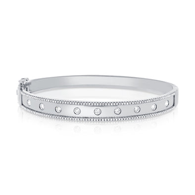 14K White Gold Diamond Wide Border Bangle
