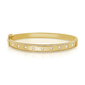 14K Yellow Gold Diamond Wide Border Bangle