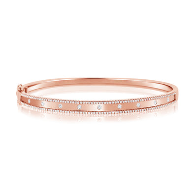 14K Rose Gold Diamond Border Bangle