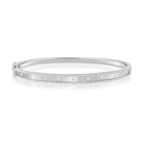 14K White Gold Diamond Border Bangle