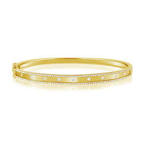 14K Yellow Gold Diamond Border Bangle
