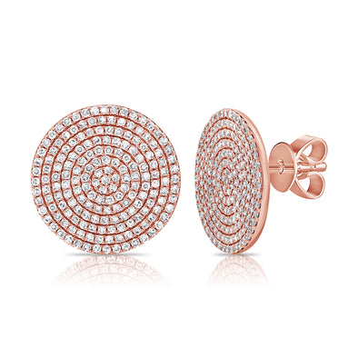 14K Rose Gold Diamond Extra Large Disc Earrings