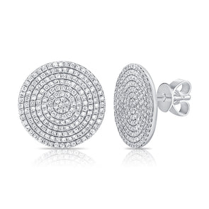 14K White Gold Diamond Extra Large Disc Earrings