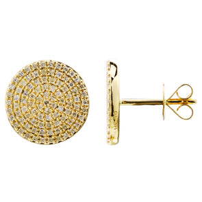14K Yellow Gold Diamond Large Disc Earrings