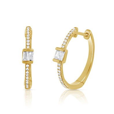 14K Yellow Gold Round and Baguette Diamond Hoop Earrings