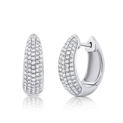 14K White Gold Diamond Pave Huggie Earrings