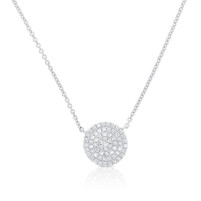 14K White Gold Diamond Pave Large Disc Necklace