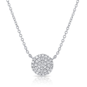 14K White Gold Diamond Disc Medium Necklace